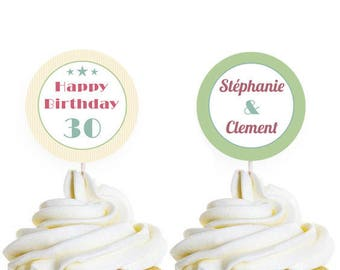 Toppers decoration for cupcakes and cake print, theme: Retro