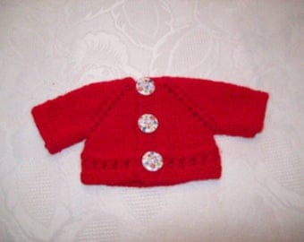 clothing, compatible with babies: Cardigan vest for 32 33 cm dolls by hand (red)