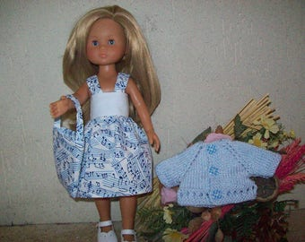 clothes for cherished dolls (cotton dress printed shades of blue, vest, bag)