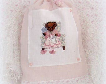 "Pouch tucks toys or Pajama ""Mama bear"" in powder pink linen"