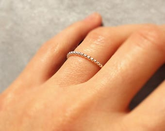 Thin ring * Aurora * wire beaded sterling silver