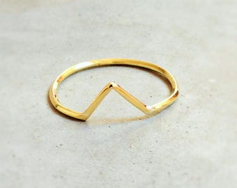 "Golden ring ""OHS"" minimalist chevron"