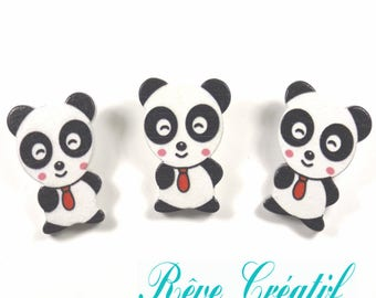 4 pcs Cartoon Panda Buttons, Wooden Buttons, Colorful, about 30mm long, 23mm wide