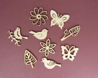 Wooden subjects embellishment: birds and butterflies