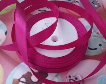 1 meter of 6mm wide fuchsia satin ribbon