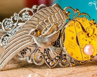 Bracelet inspiration steampunk baroque silver adjustable filigree - mechanical flight