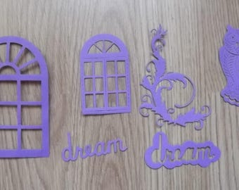 6 purple cut outs for your scrapbooking creations.