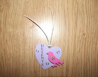 Bookmark Pink Purple Heart with a little bird.