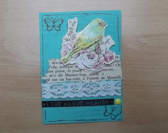 Small green card, decor for your scrapbooking creations.
