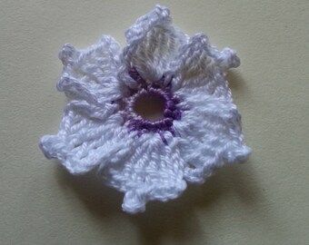 White purple flower cronus kousa crochet applique for sale individually