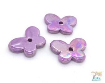 1 Pearl ceramic Greek 20x30mm Purple Butterfly (pc208)