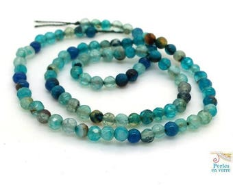 agate 95 beads shades of blue, faceted 4mm, ideal to wrap (pg61) bracelet