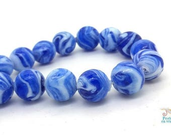 5 glass beads lampwork spiral dark blue and white 13-14mm (pv355)