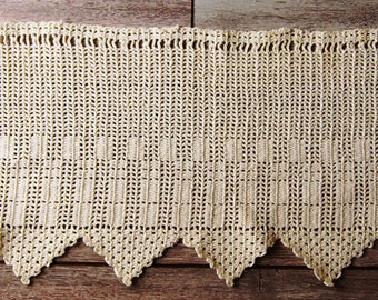 Vintage curtain bise breeze crocheted vintage style shabby chic valance French manufacturing old handmade