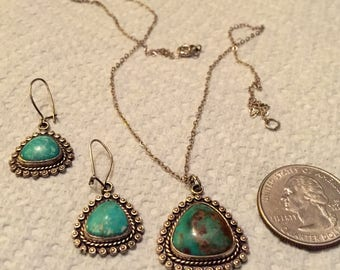 Vintage Southwestern Style Necklace & Earring Set -Turquoise and Silver - by Bell Trading Company