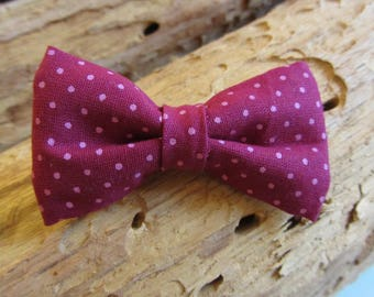 Barrette clip plum bow with polka dots