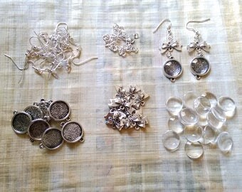 14 mm / Kit for 5 pairs of Earrings 10 mm cabochon