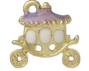 1 gold plated clear rhinestone and enamel carriage charm