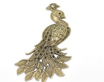 1 embelissemement Peacock color Bronze 7x4.2 cm