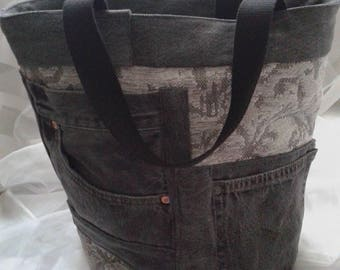 Grey denim handbag