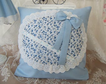 Shabby chic large liberty Medallion pillow, ruffles and bow