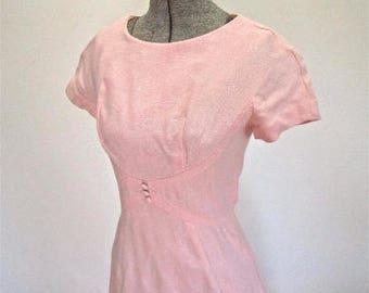 XS S 50s 60s I MAGNIN Linen Pink Dress Day Mid Century Mad Men Mod Day Dress Extra Small