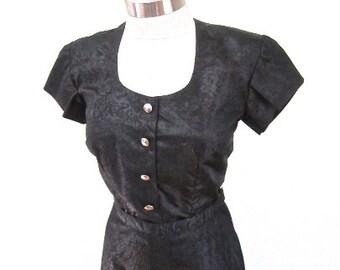 M 40s 50s Black Moire Satin Party Dress Button Front 2pc Skirt Shirt Cocktail Evening Wear Medium