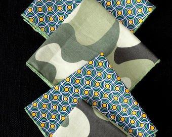"SET of 5 handkerchiefs in fabric ""Camouflage"" & ""Round"""