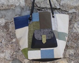 patchwork denim, Ecru, Khaki canvas tote bag