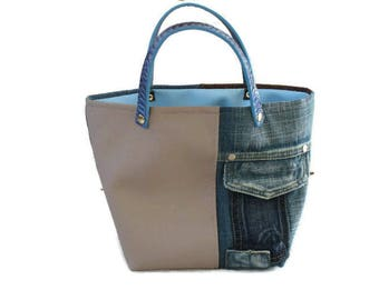 tote bag, faux Tan Leather, denim, faux distressed brown leather