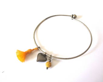 Yellow tassel and heart bronze Bangle Bracelet