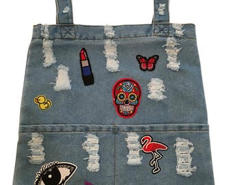 Denim Tote Bag with Patches