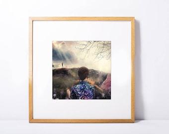 Landscape collage illustration art print 20x20cm