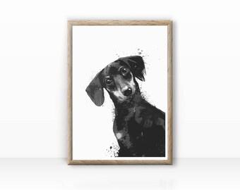 "Dog illustration ""Dachshund"" fine arts Print"