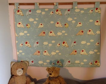 "Headboard child in sky blue cotton fabric, printed ""birds in the clouds"