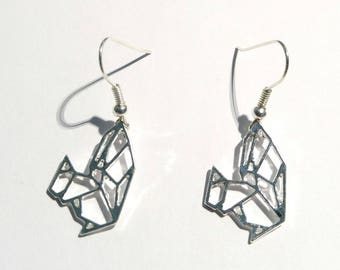 Earrings Metal imitation origami squirrel