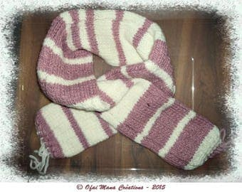 Striped hot hand-knitted scarf for women - unique