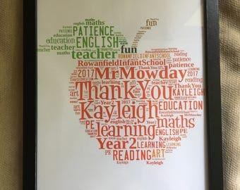 Teacher Thank You Word Cloud Print