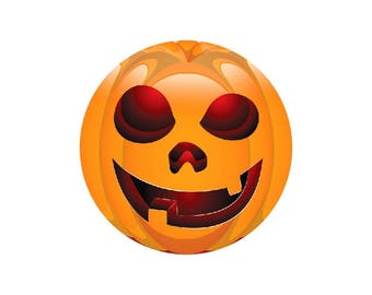 1 cabochon 25 mm glass Halloween Smiley Orange 1-25 mm