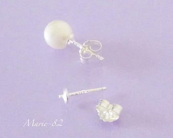 Stud Earrings Sterling Silver for pearls Semi-percees