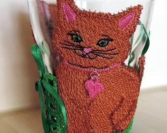 candle, decorative glass, cat planter