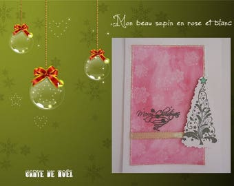Green tree stylized on card in white and pink