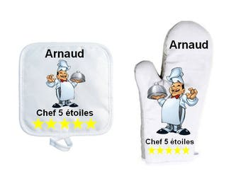 Oven glove with personalized Potholder, name choice, Cook
