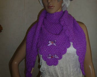Purple fuschia with ribbons, hand knitted scarf shawl
