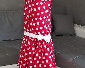 VINTAGE cotton dark red white polka dots dress. HAND MADE