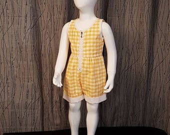 1 cotton gingham romper. HAND MADE