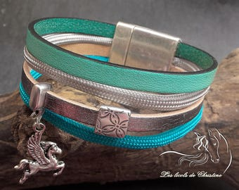 Strap leather, Cork and silver bracelet