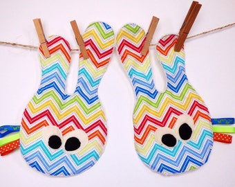 Set of two cuddly soft identical twins multicolored patterned cotton