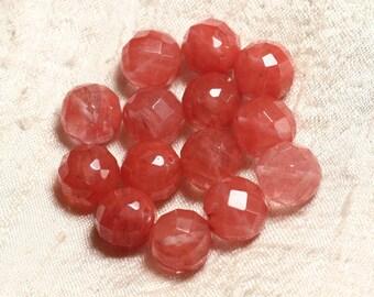 Wire 39cm 37pc env - stone beads - cherry Quartz balls faceted 10 mm