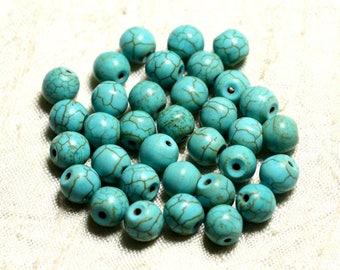 39cm env - synthetic, reconstituted Turquoise stone beads 48pc yarn balls 8 mm blue Turquoise